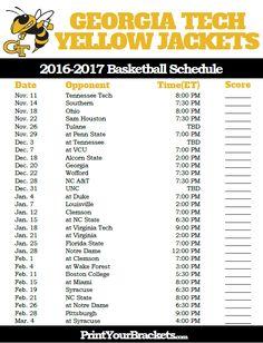 Georgia Tech Yellow Jackets 2016-2017 College Basketball Schedule