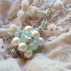 Handmade Jewelry - Aqua Necklace  Romantic Long Necklace  Pearl by ColorwayJewelry, $38.00