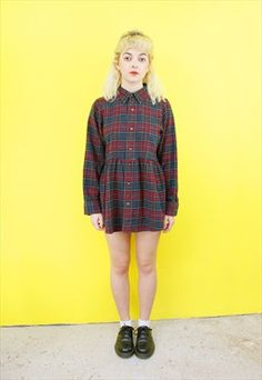 Vintage Reworked Red Twill Shirt Dress