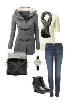 Grey duffle coat, skinny jeans