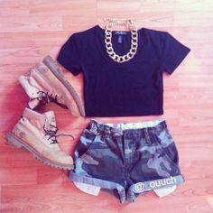 gold chain, black cropped tee, denim camouflage cuffed shorts