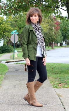 Fall casual style: Military jacket, leopard scarf, black skinny pant, tall boot