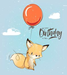 Illustration of Little fox fly with balloon vector art, clipart and stock vectors. Happy Birthday Animals, Happy Birthday Wishes Cards, Happy Birthday Friend, Happy Birthday Sister, Happy Birthday Images, 21 Birthday, Son Birthday Quotes, Cute Animal Illustration, Balloon Illustration
