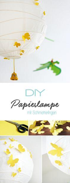 Dani von Gingered Things zeigt euch wie ihr ganz einfach aus einer Ikea Papierlampe und Papier eine super schicke und kreative Lampe mit Schmetterlingen für das Kinderzimmer machen könnt.