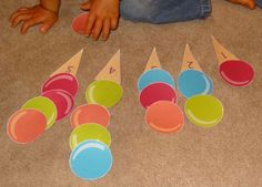Ice Cream for Use plastic cones and large pom poms. Pre K Activities, Kindergarten Activities, Educational Activities, Preschool Activities, Montessori Math, Preschool Math, Toddler Learning, Fun Learning, Summer Crafts