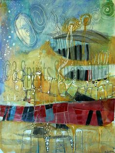 Giclee print of Original abstract Mixed Media by 3spiritsstudio