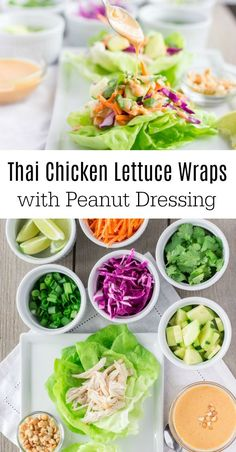 Colorful veggies add a fun pop to these Thai Chicken lettuce wraps, the rotisserie chicken makes them quick and filling, and the peanut dressing is amazing! #lettucewraps #peanutsauce