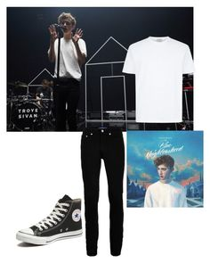 """""""the fantastique look of Troye Sivan in Blue neigbourhood tour."""" by maria143sara ❤ liked on Polyvore featuring Wood Wood, Converse, men's fashion and menswear"""