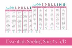 Classical Conversations essentials spelling lists a/b - quick reference bookmarks for ease of use