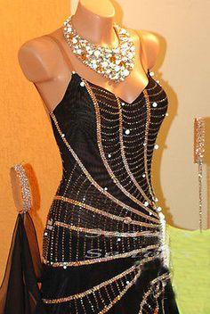 Ballroom Everday Standard Tango Waltz Dance Dress US 10 UK 12 Black Green Color
