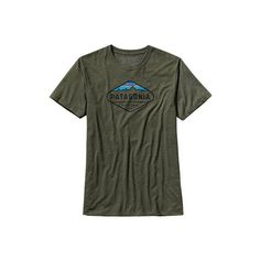 Men's Patagonia Fitz Roy Crest Cotton/Poly T-Shirt - Urbanist Green... ($29) ❤ liked on Polyvore featuring men's fashion, men's clothing, men's shirts, men's t-shirts, mens graphic t shirts, mens cotton t shirts, mens print shirts, mens long sleeve cotton shirts and mens long sleeve t shirts