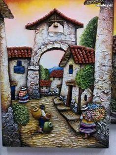 Cuban Art, Mexican Art, Peruvian Art, African Art Paintings, Cottage Art, Chicano Art, Decoupage Vintage, 3d Wall Art, Whimsical Art