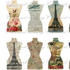 French Ephemera Dress Form Cut Outs(2) Digital Collage Sheet - For Tags - Buy 3 sheets and get 4th FREE - Printable Download via Etsy