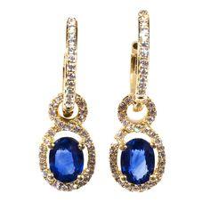 Cornflower Sapphire Diamond Gold Huggie Earrings   See more rare vintage Lever-Back Earrings at http://www.1stdibs.com/jewelry/earrings/lever-back-earrings