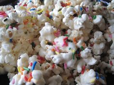 Birthday Cake Batter Popcorn | Would want to try with brownie batter and dark chocolate :D