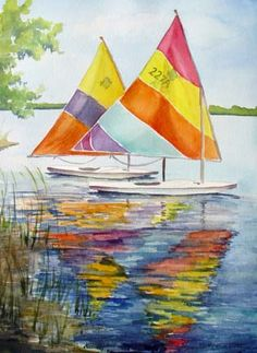 """""""Colorful Sailboats"""" ~ by Suelynn Cotton, watercolor"""