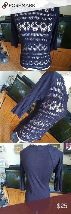 ZARA KNITTED TOP Crochet see through front. Light sweater material longer back. 3/4 sleeves. Zara Tops