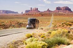 RV on an Arizona desert highway.