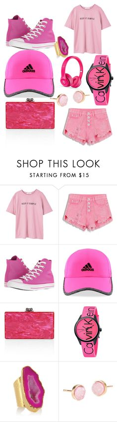 """""""On Wednesday we wear pink"""" by bulecheks ❤ liked on Polyvore featuring MANGO, Converse, adidas, Edie Parker, Calvin Klein, American Coin Treasures and Pernille Corydon"""