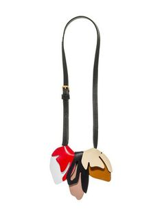 MARNI Leather necklace with two-colour flowers in calfskin