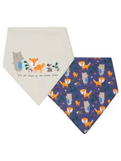 Woodland animals dribble bibs two pack