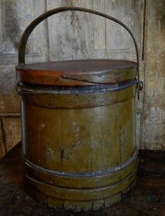 Early Primitive Antique 1800s Old Olive Paint Sugar Firkin Bucket Wood