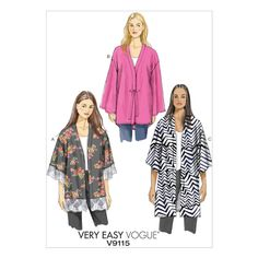 Vogue Patterns Misses' Kimono Jackets (LRG-XLG-XXL) are very loose-fitting, unlined jackets with mock-bands, dropped shoulders and narrow hem. Kimono Sewing Pattern, Vogue Sewing Patterns, Easy Sewing Patterns, Clothing Patterns, Vintage Patterns, New Look Patterns, Diy Clothing, Sewing Ideas, Kimono Fashion