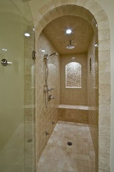 traditional bathrooms   Seeking pictures of long narrow showers with 1 glass wall - Bathrooms ...