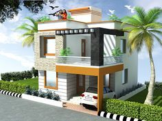 Indian house front elevation photos balcony grill indian house elevation of Bungalow Haus Design, Duplex House Design, Duplex House Plans, Unique House Design, House Front Design, Independent House, Front Elevation Designs, House Elevation, Style At Home