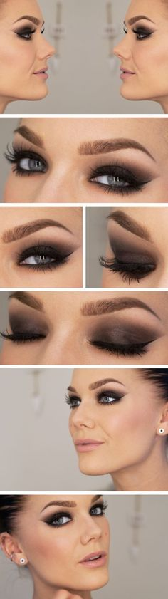 Beautiful smoky eye with pale lips