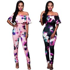 Plus Size Women Jumpsuits Autumn Spring Women Sexy Off Shoulder Bodysuits Tight-fitting Printed One piece Pants Clothes H9 #Affiliate