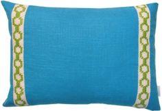 #15 Mediterranean Blue Linen w/ Lime Hampton Trim Lumbar Pillow