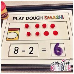 A Pinch of Kinder: Subtraction Centres - Play Dough SMASH!