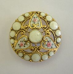 antique pierced champleve white floral enamel button