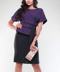 Look what I found on #zulily! Purple & Black Peplum Dress & Sash - Plus Too #zulilyfinds