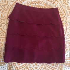 Scalloped Pencil Skirt This berry colored scalloped pencil skirt was worn only for an hour, and is in Perfect condition! Very heavy duty/long lasting material! LOFT Skirts Pencil