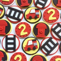 Fireman fondant cupcake toppers!