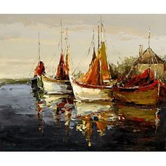 Old Sail Ships on the River Oil Painting for sale on overArts.com
