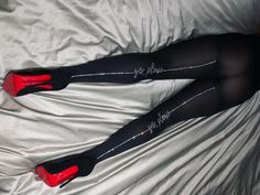 """Black opaque hosiery with """"Yes, Please"""" and crystal backseam, embellishments by d.bleu.dazzled. 90% Nylon, 10% Spandex. One Size Fits Most up to 225lbs. For custom words, or sizing questions, please email info@dbleudazzled.com Please allow 2-4 weeks for turnaround time. Garters And Stockings, Stockings Legs, Nylons, Demi Lovato Pictures, Joker, Bodysuit Fashion, Fashion Tights, Beautiful Legs, Beautiful Things"""