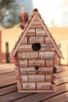 Wine cork birdhouse by CarefullyCorked on Etsy, $44.95