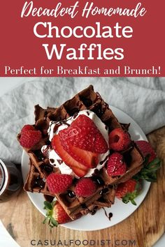 Perfect for breakfast or brunch these decadent chocolate waffles are fluffy, light and taste like your favorite brownie! Discover the best recipe to make chocolate waffles at home. | homemade waffle recipe | breakfast recipe ideas | chocolate recipe ideas | weekend brunch recipe ideas | belgian waffle recipe | Breakfast Waffle Recipes, Best Brunch Recipes, Breakfast Dessert, Breakfast Club, Breakfast Dishes, Breakfast Ideas, Yummy Recipes, Yummy Food, Vegetarian Desserts