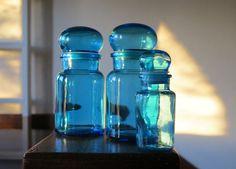 Vintage Blue Apothecary Bottles Turquoise Glass by BonVieuxTemps, $25.00