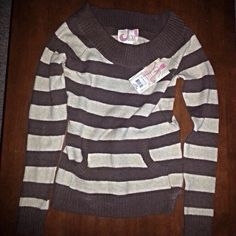 Cute Striped Sweater Brand New OP striped sweaterSize says L (11/13) I thought it was a bit smaller. It has cute neckline and front pouch pocket54% Cotton, 24% Polyester, 20% Acrylic and 2% SpandexLightweight fabric OP Sweaters