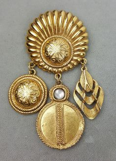 Brooch or pin gold-tone dangling medallions multiple designs frosted stone #Unbranded