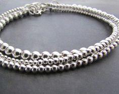 sterling silver bead bracelet, 3mm bead bracelet, sterling silver bracelet, sterling bracelet, silver jewelry, bracelet for women