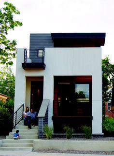 Denver - Tomecek Studio - Note flow of front porch, second story deck. 2311 West Avenue Denver , CO 80211 Studios Architecture, Modern Architecture, Modern Exterior, Exterior Design, Modern House Design, Tiny House Design, Small Modern Home, Modular Homes, Bali