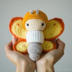 """Amigurumi Butterfly from the new book """"Lalylala's Beetles, Bugs and Butterflies"""""""
