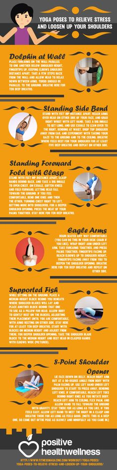 Yoga Poses to Relieve Stress and Loosen Up Your Shoulders – Positive Health Wellness Infographic