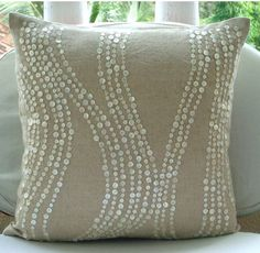 Luxury Ecru Accent Pillows 16x16 Cotton Linen by TheHomeCentric