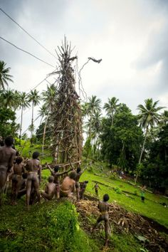 Naghol Land Diving: In a terrifying appeasement to the gods and a bold display of virility, men jump off a spiked tower, hurtling to the ground below, attached only by jungle vines.